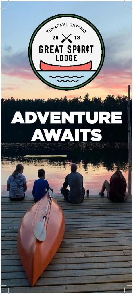 A photo of a family sitting on a dock at sunset with a canoe with the Great Spirit Lodge logo overtop and 'adventure awaits' in bold writing.