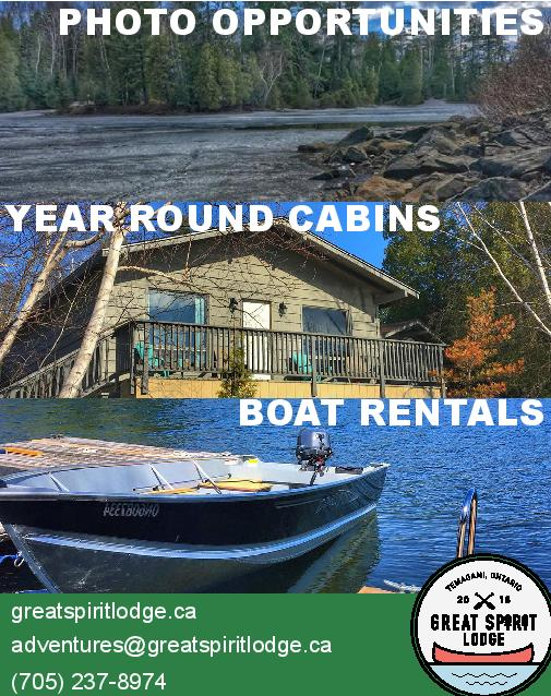 3 photos of scenes at Lake Temagami with the words 'photo opportunities', 'year round cabins' and 'boat rentals' over top.